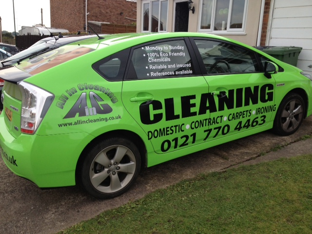 Branded company vehicle of All in Cleaning with all the Contact us information